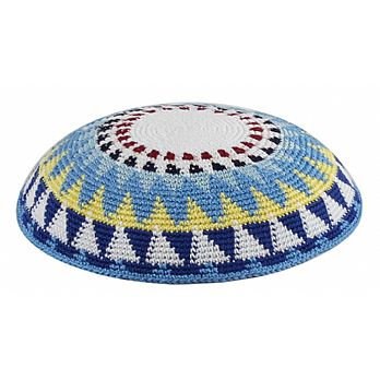 Supreme Quality DMC Knitted Kippot - Blue Sun Beam