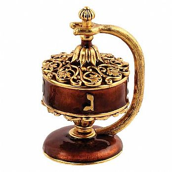Artistic Filigree Dreidel on Stand - Mahogany / Gold