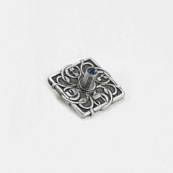 Alloyed Metal Dreidel with Blue Crystal