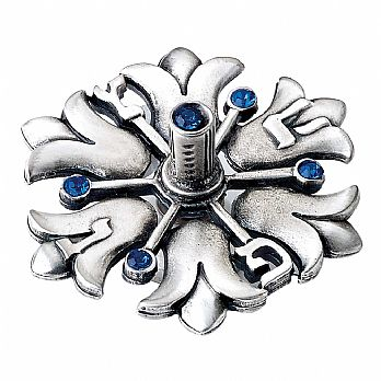 Alloyed Metal Dreidel with Blue Crystals - Tulips