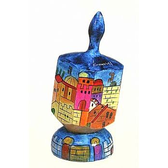 Large Art Dreidel with Display Stand - Western Wall