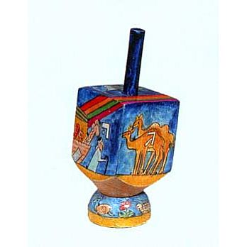 Small Art Dreidel with Display Stand - Noah's Ark