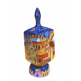 Jumbo Wooden Dreidel with Display Stand - Old City