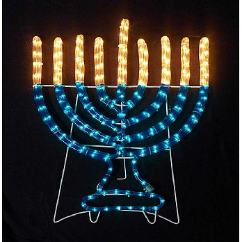 Jumbo 36'' Lighted Rope Hanukkah Decor - Indoor/Outdoor - Hanukkah Indoor/outdoor Rope Light Decoration 4' Tall