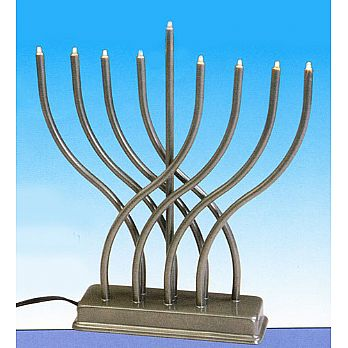 Electric Menorah pewter Body With Low Volt Bulbs