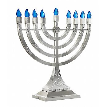 LED Electronic Menorah - Battery or USB Powered - Silver
