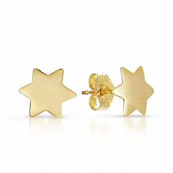 14K Gold Star of David Earings