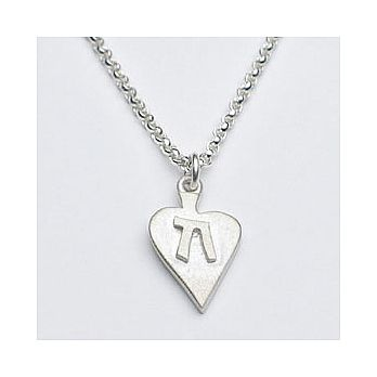 Sterling Heart Neclace with Chai