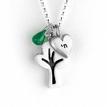 Silver Charm Necklace with Custom Initial