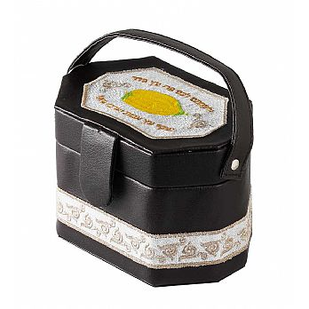 Embroidered Leatherette Etrog Box with Handle