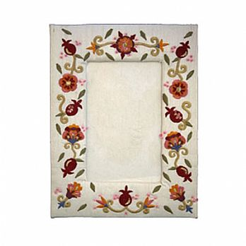 Embroidered Picture Frame - Pomegranates