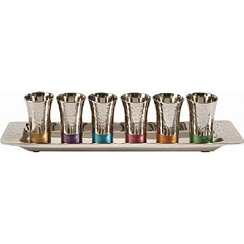 Kiddush Cups Cordial Set By Emanuel Hammered with Color