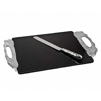 Challah Board Lava Stone with Stainless Matching Knife