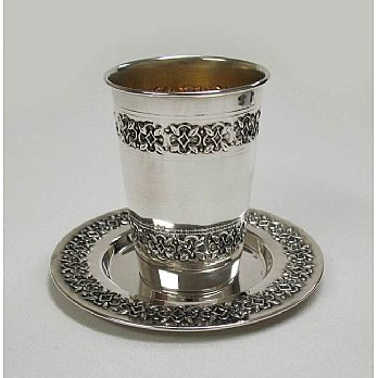 Sterling Silver Kidussh Cup with Tray - Floral