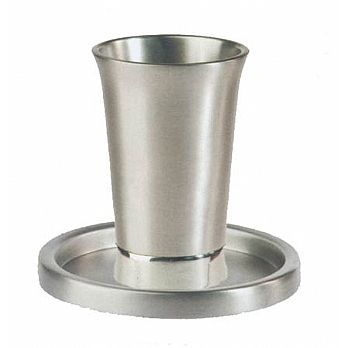 Anodized Aluminum Kiddush Cup and Tray - Silver