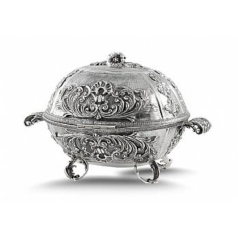 Sterling Silver Etrog Box - Carriage Ornate