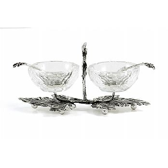 Sterling Silver Salt Dish - with Diamond Cut Glass Cups