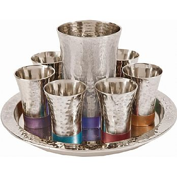 Kiddush Set By Emanuel Hammered Nickel with Color