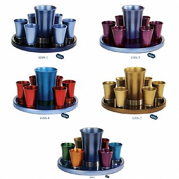 Anodized Aluminum Kiddush Set with Tray