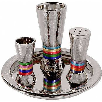 Emanuel Hammered Havdallah Set Conical Shape- Multicolor Rings