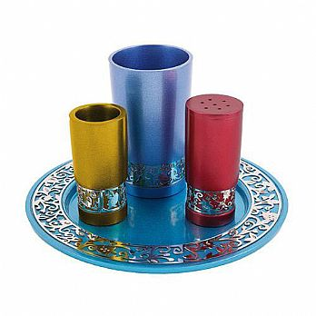 Emanuel Anodized Havdallah Set with Metal Cutout - Mulitcolor
