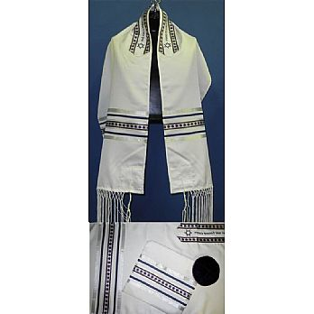 Star of David Tallit Set - Silver/Wine/Navy
