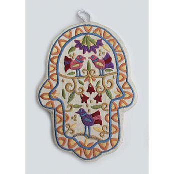 Embroidered Hamsa Decor - Birds