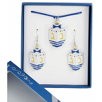 Dreidel Jewelry Set - Earrings and Necklace Gift Boxed