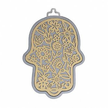 Emanuel Anodized Aluminum Hamsa with Flower Cutuout