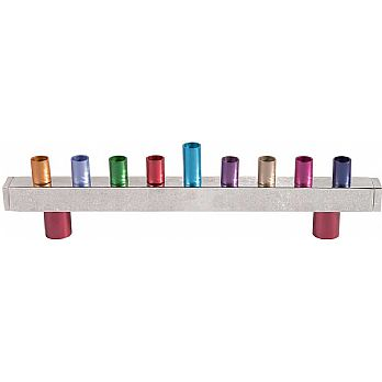 Emanuel Hammered Chanukah Menorah- Multicolor