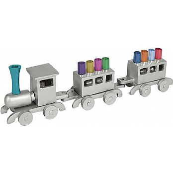 Emanuel Anodized Chanukah Menorah, Train-- Multicolor