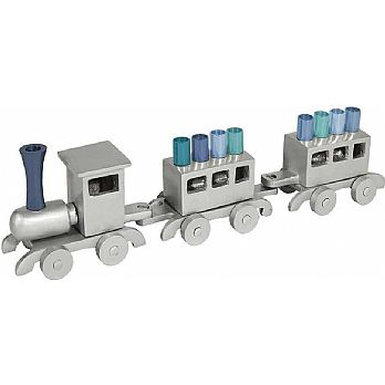 Emanuel Anodized Chanukah Menorah, Train-- Silver with Blues