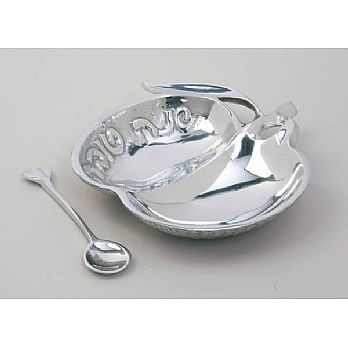 Silver Plated Honey Tray & Spoon