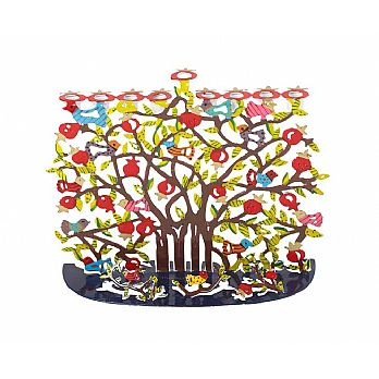 Yair Emanuel Hand-Painted Menorah -Pomegranates and Birds