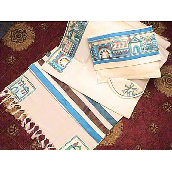 Soft Cotton Luxurious Tallit Set - Jerusalem in Turquoise