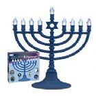Battery Operated LED Electronic Menorah - Blue