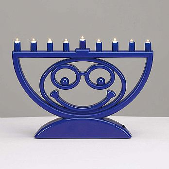 Blue Smiley Face Battery Operated LED Menorah