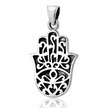 Sterling Silver Ornate Hamsa