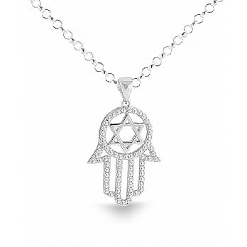 Sterling Silver Hamsa Pendant with CZ Stones