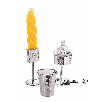 Hammered Havdalah Set - Hammered and Beaded