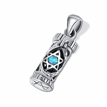 Sterling Silver Mezuzah Pendant with Opal