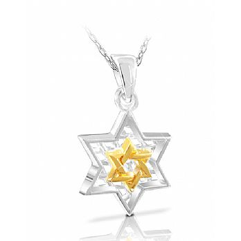 Sterling Silver Star of David Pendant - With Gold Plated Star