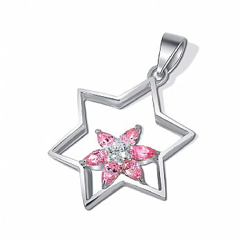 Sterling Silver Star of David Pendant - Pink Stone Flower