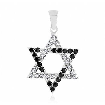 Sterling Silver Star of David Pendant - Pave Stone Setting