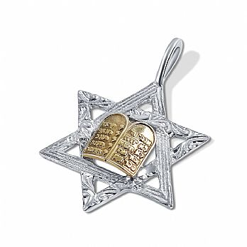 Sterling Silver Star of David with Gold Gold Plated 10 Commandments