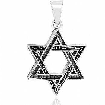 Sterling Silver Star of David Pendant - Pave