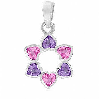 Sterling Silver Star of David Pendant - Heart Shapes Pink/Purple