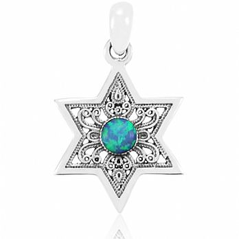 Sterling Silver Star of David Pendant - Filigree with Opal