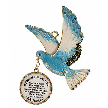 Ornate Jeweled Done with Home Blessing Medallion - Blue
