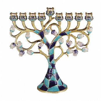 Menorah Jeweled and Gold Plated Tree - Blue Mosaic